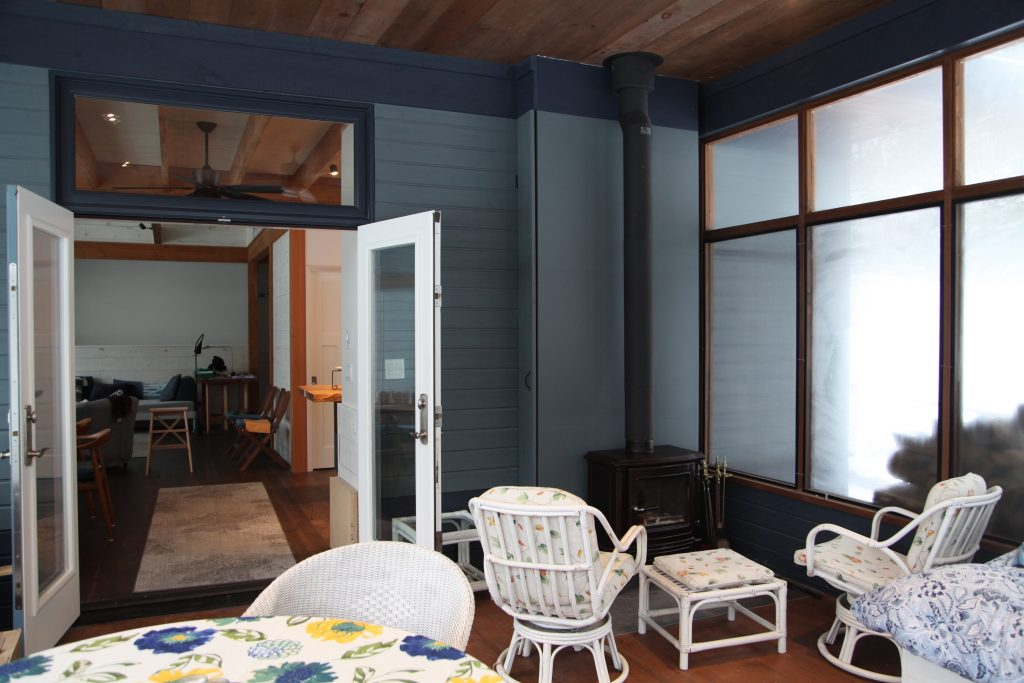 Screened porch inside view during winter
